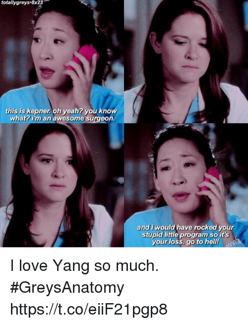 Love, Memes, and Yeah: totallygreys.8x23  this is kepner. oh yeah? you know  what? i'm an awesome surgeon  and i would have rocked your  stupid little program so it's  your loss, go to hell I love Yang so much. #GreysAnatomy https://t.co/eiiF21pgp8