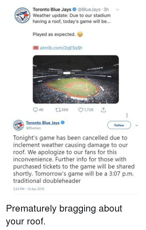 Toto Blue Jays 3h v Weather Update Due to Our Stadium Having a Roof ...