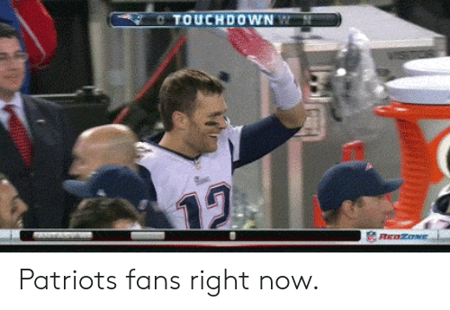 Patriotic, Now, and Right Now: TOUCHDOWN Patriots fans right now.