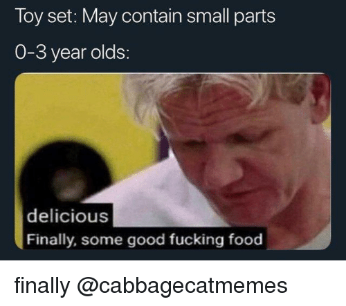 Food, Fucking, and Good: Toy set: May contain small parts  0-3 year olds:  delicious  Finally, some good fucking food finally @cabbagecatmemes