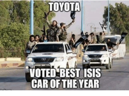 Isis, Memes, and Toyota: TOYOTA  VOTED BEST ISIS  CAR OF THE YEAR
