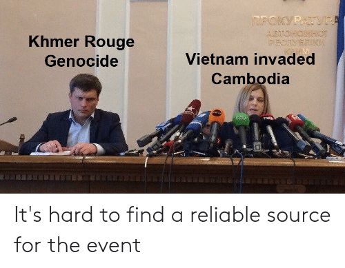 History, Vietnam, and Cambodia: TPOKYPATVP  ABTONORROT  PECTYETR  Khmer Rouge  Vietnam invaded  Genocide  Cambodia It's hard to find a reliable source for the event