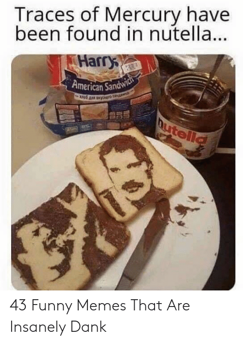 Dank, Funny, and Memes: Traces of Mercury have  been found in nutella..  Harry  American Sandw 43 Funny Memes That Are Insanely Dank