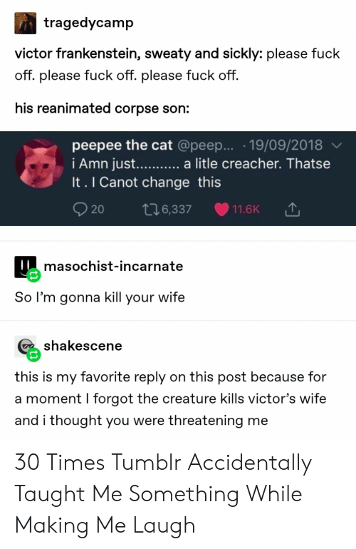 Tumblr, Wife, and Change: tragedycamp  victor frankenstein, sweaty and sickly: please fuck  off. please fuck off. please fuck off.  his reanimated corpse son:  peepee the cat @peep... .19/09/2018  i Amn jus.... a litle creacher. Thatse  It. I Canot change this  t16,337  11.6K  20  masochist-incarnate  So l'm gonna kill your wife  shakescene  this is my favorite reply on this post because for  a moment I forgot the creature kills victor's wife  and i thought you were threatening me 30 Times Tumblr Accidentally Taught Me Something While Making Me Laugh