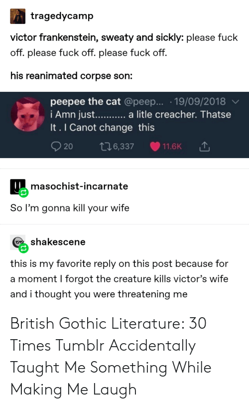 Tumblr, Wife, and British: tragedycamp  victor frankenstein, sweaty and sickly: please fuck  off. please fuck off. please fuck off.  his reanimated corpse son:  peepee the cat @peep... .19/09/2018  i Amn just...... a litle creacher. Thatse  It. I Canot change this  20  t76,337  11.6K  masochist-incarnate  So l'm gonna kill your wife  shakescene  this is my favorite reply on this post because for  a moment I forgot the creature kills victor's wife  and i thought you were threatening me British Gothic Literature: 30 Times Tumblr Accidentally Taught Me Something While Making Me Laugh