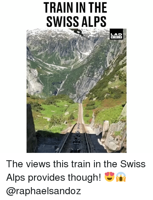 Memes, Bible, and Train: TRAIN IN THE  SWISS ALPS  LAD  BIBLE The views this train in the Swiss Alps provides though! 😍😱 @raphaelsandoz