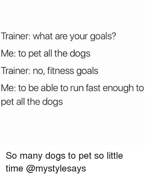 Dogs, Goals, and Run: Trainer: what are your goals?  Me: to pet all the dogs  Trainer: no, fitness goals  Me: to be able to run fast enough to  pet all the dogs So many dogs to pet so little time @mystylesays
