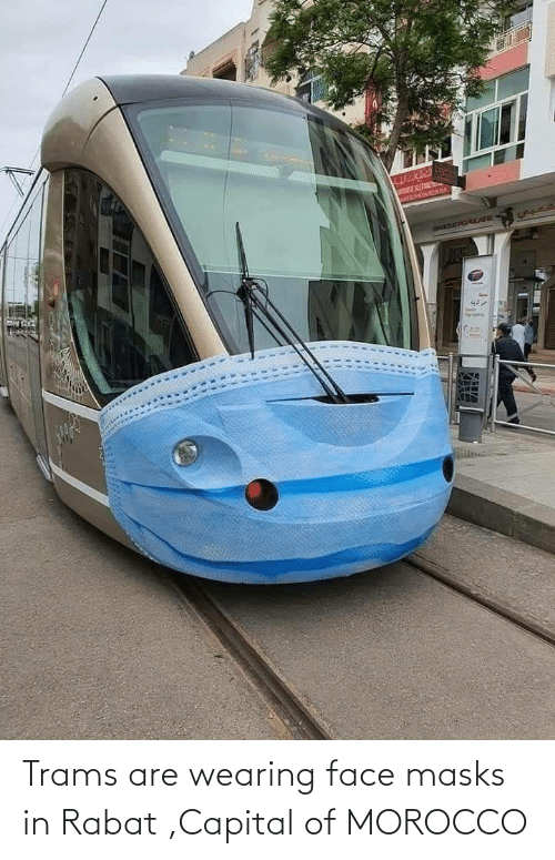 Capital, Morocco, and Face: Trams are wearing face masks in Rabat ,Capital of MOROCCO