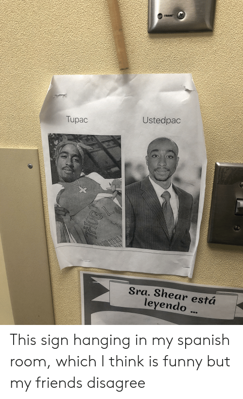 Friends, Funny, and Spanish: TRANE  Ustedpac  Tupac  Sra. Shear está  leyendo  adam.the.creator This sign hanging in my spanish room, which I think is funny but my friends disagree