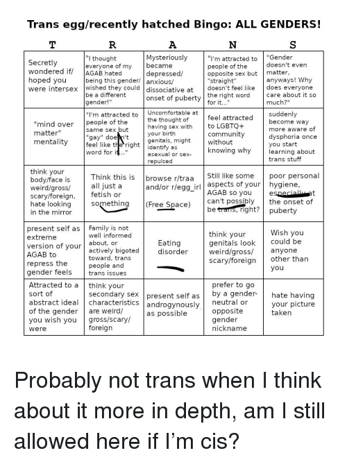 """Community, Family, and Sex: Trans egg/recently hatched Bingo: ALL GENDERS!  """"I'm attracted to""""Gender  people of the  opposite sex but matter,  """"straight  Mysteriously  """"I thought  everyone of my beca  being this gender/ anxious/  be a different  gender!  """"I'm attracted to Uncomfortable at  Secretly  wondered if AGAB hated  doesn't even  anyways! Why  care about it so  depressed/  were intersex wished they could dissociative at doesn't feel like does everyone  onset of puberty  much?""""  """"mind over people of the  matter'""""  mentality  feel like t e' right I identify as  the thought of  having sex withto LGBTQ+  your birth  genitals, might  feel attracted Suddenly  community  knowing why  become way  more aware of  dysphoria once  vou start  learning about  trans stuff  same sex but  asexual or sex-  repulsec  think vour  body/face is  weird/gross/  scary/foreig  hate looking  in the mirror  Think this is browse r/traaStill like some poor personal  all just a  aspects of your  hygiene,  AGAB so youe  can't possibly the onset of  and/or r/egg_irl  (Free Space)  present self as Family is not  extreme  version of your  AGAB to  well informed  about, or  actively bigoted  toward, trans  people and  think your  genitals look Could be  weird/gross/anyone  scary/foreign other than  Eating  disorder  repress the  gender feels trans issues  Attracted to a think your  secondary sex  present self as  by a gender-  hate having  your picture  abstract ideal characteristicS  androgynously  of the gender are weird/  you wish you gross/scary/  were  neutral or  opposite  gender  nickname  as possible  foreign"""