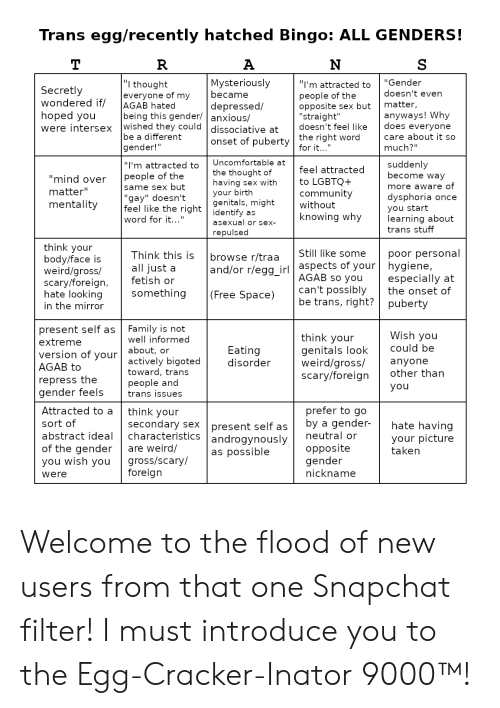 Trans Eggrecently Hatched Bingo ALL GENDERS! I'm Attracted
