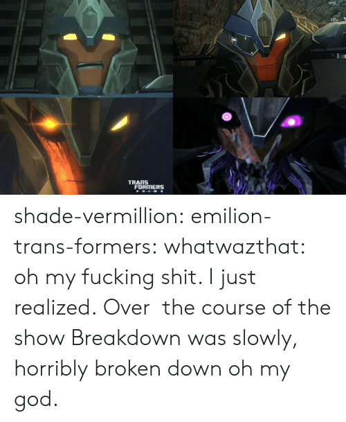 Fucking, God, and Oh My God: TRANS  FORMERS shade-vermillion:  emilion-trans-formers:  whatwazthat:  oh my fucking shit. I just realized. Over the course ofthe show Breakdown was slowly, horribly broken down   oh my god.