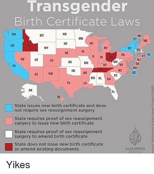 transgender birth certificate laws via nd mt nh mn me sd or wy ma ia