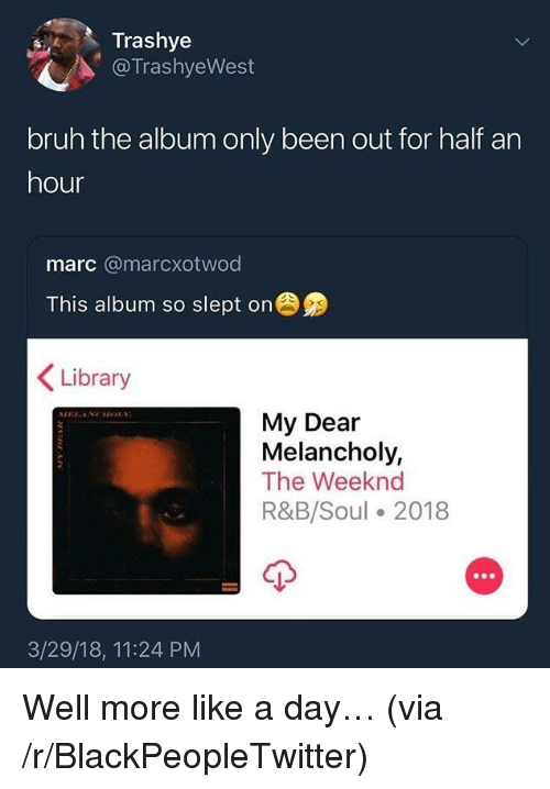 Blackpeopletwitter, Bruh, and The Weeknd: Trashye  @TrashyeWest  bruh the album only been out for half an  hour  marc @marcxotwod  This album so slept on  Library  My Dear  Melancholy,  The Weeknd  R&B/Soul 2018  3/29/18, 11:24 PM <p>Well more like a day… (via /r/BlackPeopleTwitter)</p>