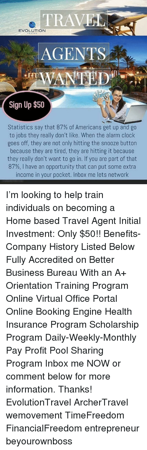 travel evolution travel agents wanted sign up $50 statistics say