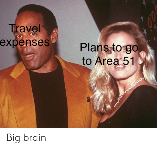 Reddit, Brain, and Travel: Travel  expenses  Plans to go  to Area 51 Big brain
