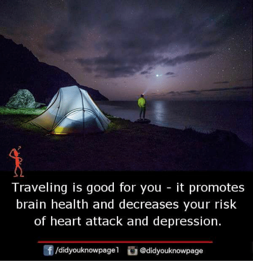 Good for You, Memes, and Brain: Traveling is good for you - it promotes  brain health and decreases your risk  of heart attack and depression.  /didyouknowpage  @didyouknowpage