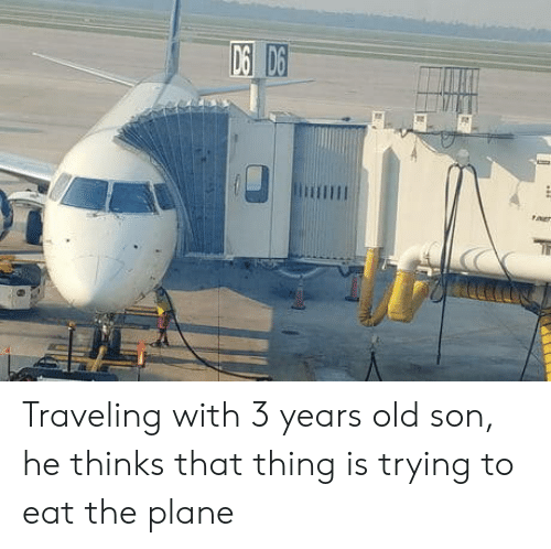 Old, Plane, and Thing: Traveling with 3 years old son, he thinks that thing is trying to eat the plane