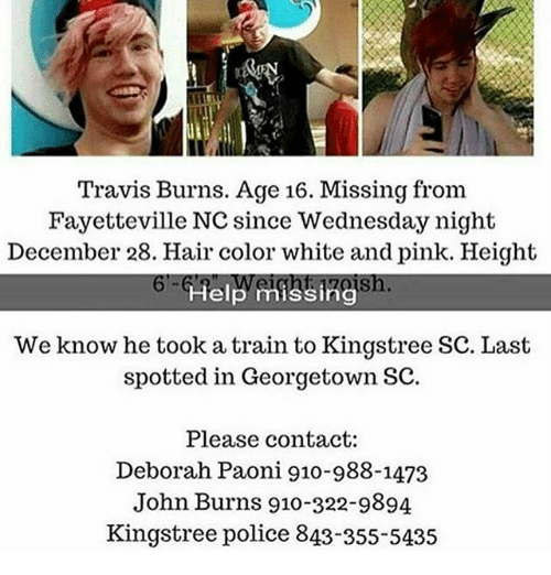 Travis Burns Age 16 Missing From Fayetteville NC Since