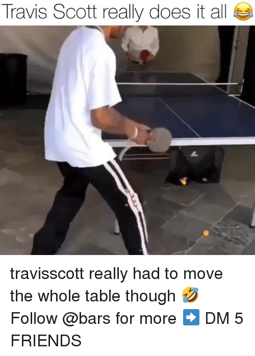 Friends, Memes, and Travis Scott: Travis Scott really does it all travisscott really had to move the whole table though 🤣 Follow @bars for more ➡️ DM 5 FRIENDS