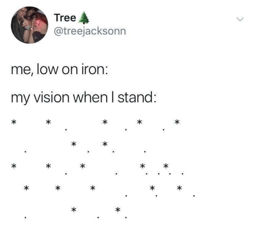 Vision, Tree, and Iron: Tree  @treejacksonn  me, loW on iron.  my vision when I stand:
