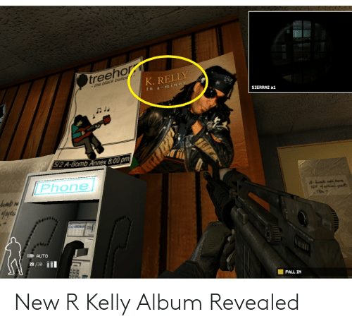 Fall, Phone, and R. Kelly: treehor  K. RELLY  -the back  ina-mino  SIERRA2 x1  2 A-Bomb Ann  ex 8:00 pm  Phone  AUTO  28 /30 j0I  cC  FALL IN New R Kelly Album Revealed