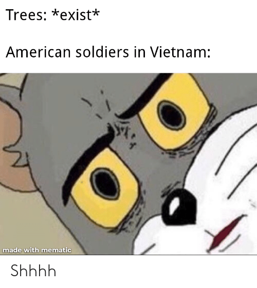 Soldiers, American, and History: Trees: *exist*  American soldiers in Vietnam:  made with mematic Shhhh
