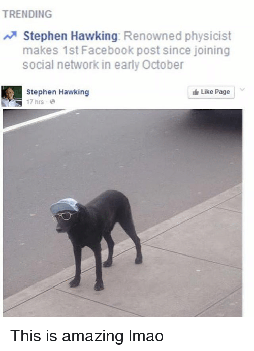 Facebook, Lmao, and Memes: TRENDING  Stephen Hawking: Renowned physicist  makes 1st Facebook post since joining  social network in early October  Stephen Hawking  17hrs @  I Like Page | This is amazing lmao