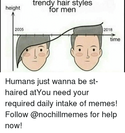 Memes, Hair, and Help: trendy hair styles  or men  height  2005  2018  time Humans just wanna be st-haired atYou need your required daily intake of memes! Follow @nochillmemes for help now!