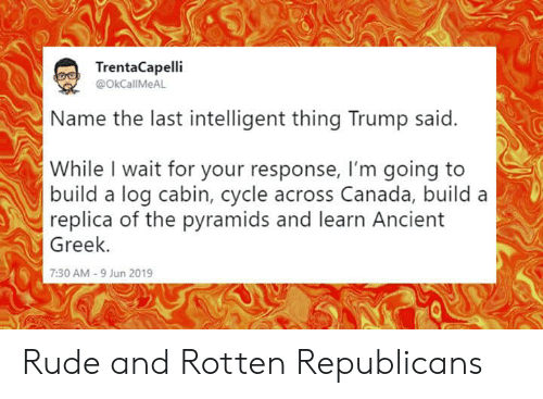 Rude, Canada, and Trump: TrentaCapelli  @OkCallMeAL  lame the last intelligent thing Trump said.  While I wait for your response, I'm going to  build a log cabin, cycle across Canada, build a  replica of the pyramids and learn Ancient  Greek.  7:30AM-9 Jun 2019 Rude and Rotten Republicans