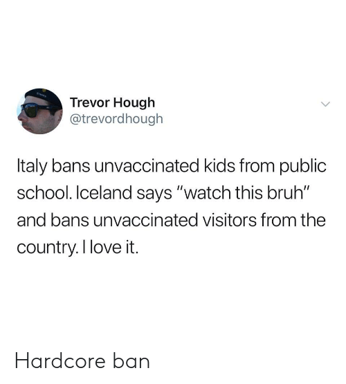 "Bruh, Love, and School: Trevor Hough  @trevordhough  Italy bans unvaccinated kids from public  school. Iceland says ""watch this bruh""  and bans unvaccinated visitors from the  country.I love it. Hardcore ban"