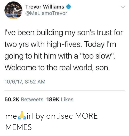 """Dank, Memes, and Target: Trevor Williams  @MeLlamoTrevor  I've been building my son's trust for  two yrs with high-fives. Today I'm  going to hit him with a """"too slow"""".  Welcome to the real world, son.  10/6/17, 8:52 AM  50.2K Retweets 189K Likes me🙏irl by antisec MORE MEMES"""