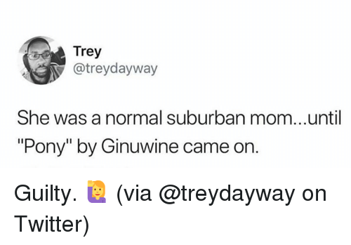 """Dank, Twitter, and Mom: Trey  @treydayway  She was a normal suburban mom...until  """"Pony"""" by Ginuwine came on. Guilty. 🙋♀️  (via @treydayway on Twitter)"""