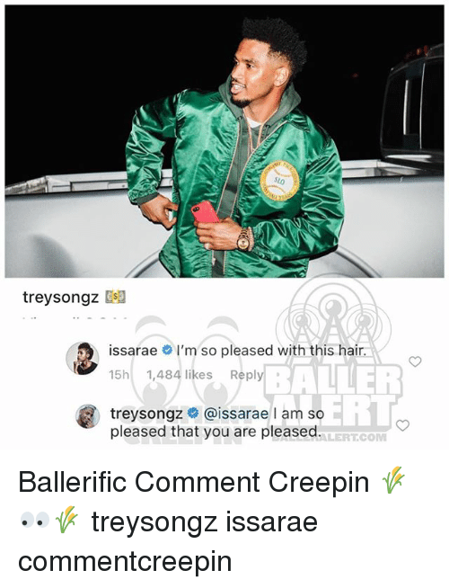 Memes, Hair, and 🤖: treysongz  issarae # I'm so pleased with this hair  15h 1,484 likes Reply  BALHEi  ERL  treysongz @issarae l am so  pleased that you are pleased.  ALERTCOM Ballerific Comment Creepin 🌾👀🌾 treysongz issarae commentcreepin