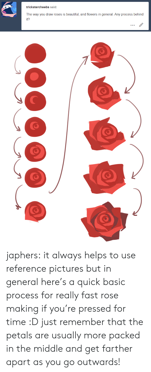 Beautiful, Target, and Tumblr: trickstercheebs said:  The way you draw roses is beautiful, and flowers in general. Any process behind  it? japhers: it always helps to use reference pictures but in general here's a quick basic process for really fast rose making if you're pressed for time :D just remember that the petals are usually more packed in the middle and get farther apart as you go outwards!