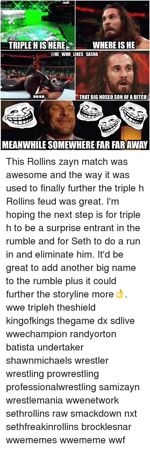 Memes, Wrestlemania, and Triple H: TRIPLE HIS HERE  WHERE IS HE  @HE WHO LIKES SASHA  THAT BIG NOSEDSON OF A BITCH  MEANWHILE SOMEWHERE FAR FARAWAY This Rollins zayn match was awesome and the way it was used to finally further the triple h Rollins feud was great. I'm hoping the next step is for triple h to be a surprise entrant in the rumble and for Seth to do a run in and eliminate him. It'd be great to add another big name to the rumble plus it could further the storyline more👌. wwe tripleh theshield kingofkings thegame dx sdlive wwechampion randyorton batista undertaker shawnmichaels wrestler wrestling prowrestling professionalwrestling samizayn wrestlemania wwenetwork sethrollins raw smackdown nxt sethfreakinrollins brocklesnar wwememes wwememe wwf