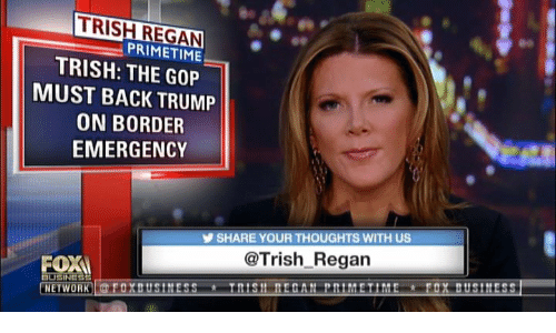 Memes, Trump, and Back: TRISH REGAN  TRISH: THE GOP  ON BORDER  PRIMETIME  MUST BACK TRUMP  EMERGENCY  SHARE YOUR THOUGHTS WITH US  @Trish Regan