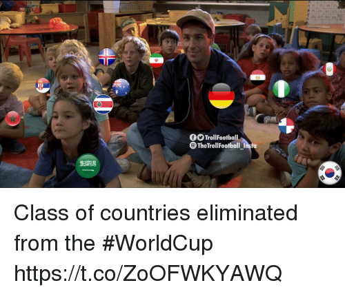 Memes, 🤖, and Class: TrollFootball  TheTrollFootball Inst Class of countries eliminated from the #WorldCup https://t.co/ZoOFWKYAWQ