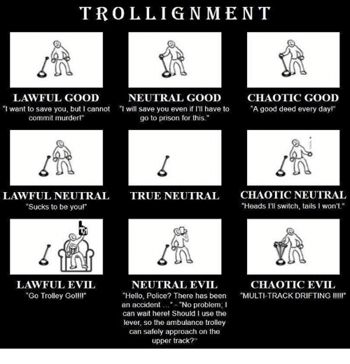 "Hello, Police, and True: TROLLIGNMENT  LAWFUL GOOD  NEUTRAL GOOD  CHAOTIC GOOD  ""I want to save you, but I cannot ""I will save you even if I'Il have to ""A good deed every dayl""  even i rI have to""A good deed every dayr  commit murderl""  go to prison for this.""  LAWFUL NEUTRAL  ""Sucks to be youl""  CHAOTIC NEUTRAL  ""Heads l'll switch, tails I won't  TRUE NEUTRAL  1n  LAWFUL EVIL  ""Go Trolley Goll!  NEUTRAL EVIL  CHAOTIC EVIL  ""Hello, Police? There has been MULTI-TRACK DRIFTING III  an accident..""- ""No problem; I  can wait herel Should I use the  lever, so the ambulance trolley  can safely approach on the  upper track?"""