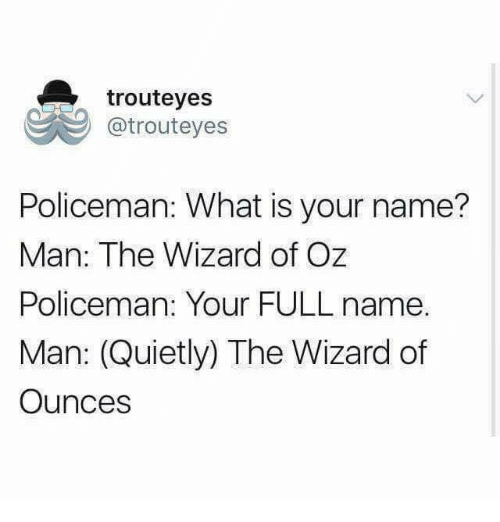 Memes, What Is, and Wizard of Oz: trouteyes  @trouteyes  Policeman: What is your name?  Man: The Wizard of Oz  Policeman: Your FULL name.  Man: (Quietly) The Wizard of  Ounces
