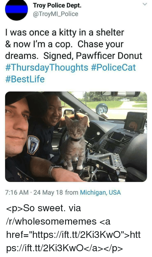 "Police, Chase, and Michigan: Troy Police Dept.  @TroyMI_Police  I was once a kitty in a shelter  & now I'm a cop. Chase your  dreams. Signed, Pawfficer Donut  #ThursdayThoughts #PoliceCat  #BestLife  7:16 AM 24 May 18 from Michigan, USA <p>So sweet. via /r/wholesomememes <a href=""https://ift.tt/2Ki3KwO"">https://ift.tt/2Ki3KwO</a></p>"