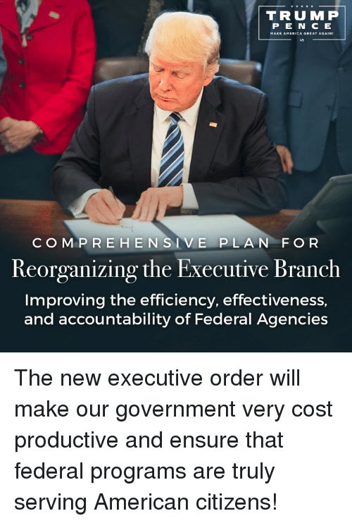 America, American, and Ensure: TRU MP  P E N E  MAKE AMERICA GREAT AGAIN  C O M P R EHEN  SI V E PLA N FOR  Reorganizing the Executive Branch  Improving the efficiency, effectiveness,  and accountability of Federal Agencies The new executive order will make our government very cost productive and ensure that federal programs are truly serving American citizens!