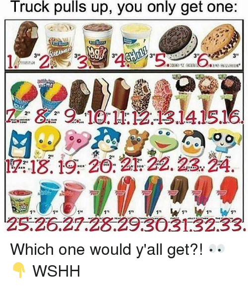 """Memes, Wshh, and 🤖: Truck puls up, you only get one:  34  REAME  3""""  OUNL  2  20  1n  10  1n  1n  25.26.27.28.29303132 33 Which one would y'all get?! 👀👇 WSHH"""
