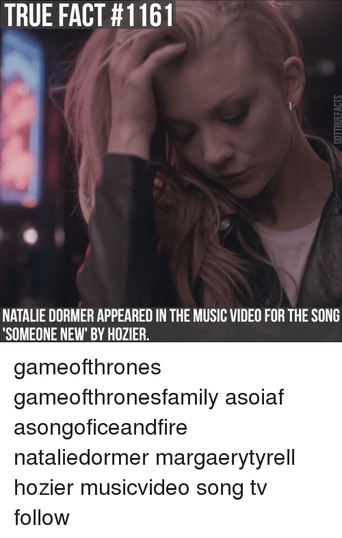 """Memes, Music, and Natalie Dormer: TRUE FACT #1161  NATALIE DORMER APPEARED IN THE MUSIC VIDEO FOR THE SONG  """"SOMEONE NEW"""" BY HOZIER gameofthrones gameofthronesfamily asoiaf asongoficeandfire nataliedormer margaerytyrell hozier musicvideo song tv follow"""