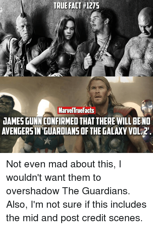 Memes, True, and Guardians of the Galaxy: TRUE FACT #1275  MarvelTruefacts  DAMESGUNN CONFIRMEDTHAT THERE WILL BE NO  AVENGERSIN GUARDIANS OF THE GALAXY VOL. Not even mad about this, I wouldn't want them to overshadow The Guardians. Also, I'm not sure if this includes the mid and post credit scenes.