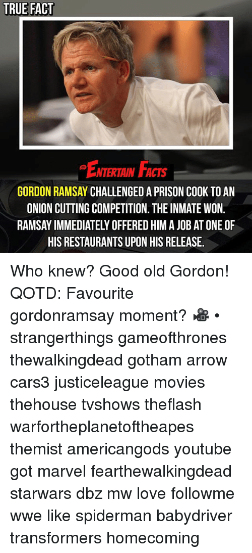 Facts, Gordon Ramsay, and Love: TRUE FACT  ENTERTAIN FACTS  GORDON RAMSAY CHALLENGED A PRISON COOK TO AN  ONION CUTTING COMPETITION, THE INMATE WON.  RAMSAY IMMEDIATELY OFFERED HIM A JOB AT ONE OF  HIS RESTAURANTS UPON HIS RELEASE Who knew? Good old Gordon! QOTD: Favourite gordonramsay moment? 🎥 • strangerthings gameofthrones thewalkingdead gotham arrow cars3 justiceleague movies thehouse tvshows theflash warfortheplanetoftheapes themist americangods youtube got marvel fearthewalkingdead starwars dbz mw love followme wwe like spiderman babydriver transformers homecoming