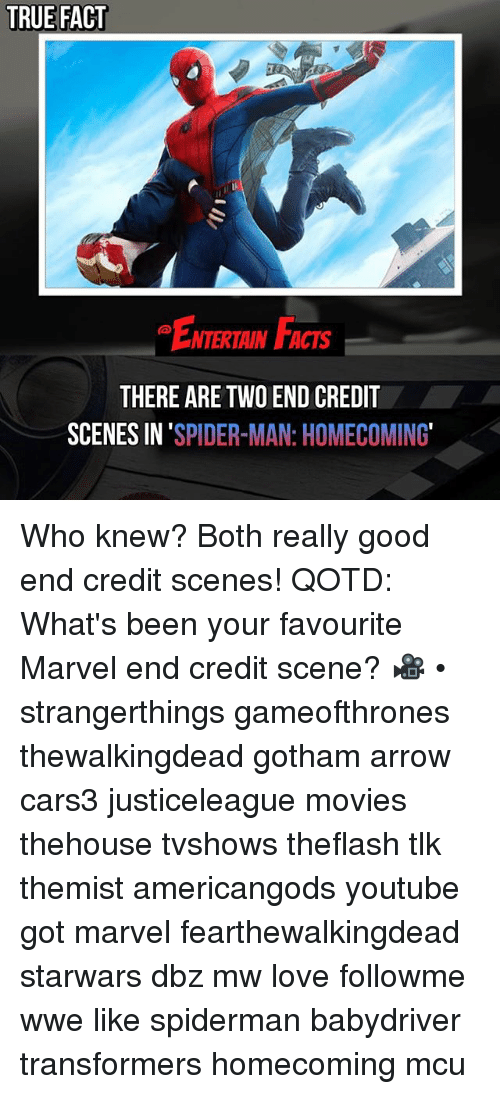 Facts, Love, and Memes: TRUE FACT  ENTERTAIN FACTS  THERE ARE TWO END CREDIT  SCENES IN 'SPIDER-MAN: HOMECOMING Who knew? Both really good end credit scenes! QOTD: What's been your favourite Marvel end credit scene? 🎥 • strangerthings gameofthrones thewalkingdead gotham arrow cars3 justiceleague movies thehouse tvshows theflash tlk themist americangods youtube got marvel fearthewalkingdead starwars dbz mw love followme wwe like spiderman babydriver transformers homecoming mcu