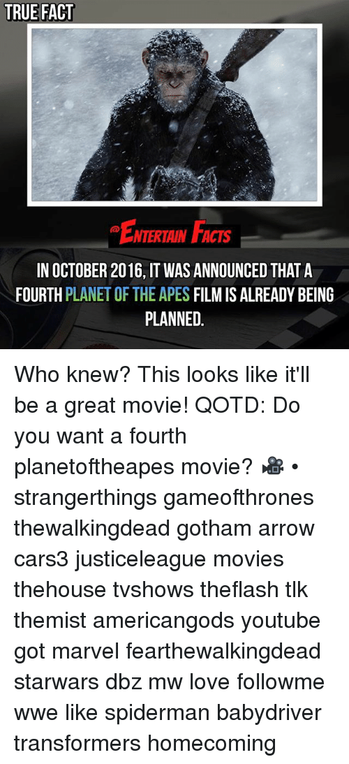Facts, Love, and Memes: TRUE FACT  NTERTAIN FACTS  IN OCTOBER 2016, IT WAS ANNOUNCED THAT A  FOURTH PLANET OF THE APES FILM IS ALREADY BEING  PLANNED Who knew? This looks like it'll be a great movie! QOTD: Do you want a fourth planetoftheapes movie? 🎥 • strangerthings gameofthrones thewalkingdead gotham arrow cars3 justiceleague movies thehouse tvshows theflash tlk themist americangods youtube got marvel fearthewalkingdead starwars dbz mw love followme wwe like spiderman babydriver transformers homecoming