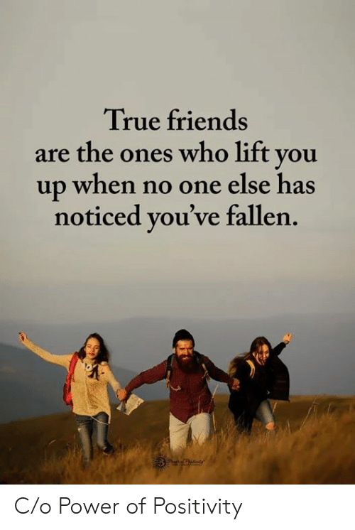 Friends, True, and Power: True friends  are the ones who lift you  up when no one else has  noticed you've fallen. C/o Power of Positivity
