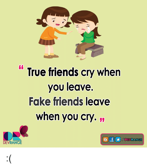 Crying, Fake, and Memes: True friends cry when  you leave.  Fake friends leave  when you cry.  DEVRANGE :(